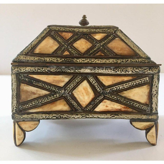 Moroccan Decorative Jewelry Box Inlaid With Bone and Silvered Brass For Sale In Los Angeles - Image 6 of 13