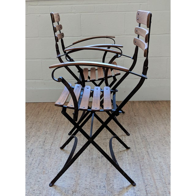 French Country Antique Iron & Teak Garden Chairs – a Pair For Sale In Raleigh - Image 6 of 12
