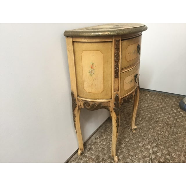 French Style Night Stand With Hand Painted Flowers For Sale - Image 9 of 11
