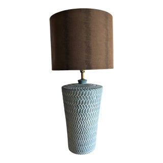 Vintage 1980's Textured Pottery Lamp For Sale