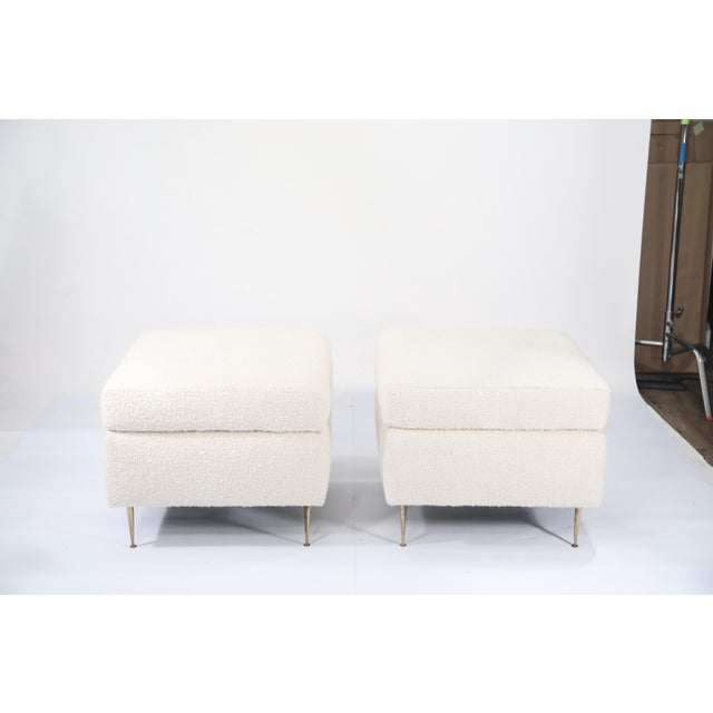 Metal Pair of Italian Mid-Century Modern White Boucle Ottomans on Brass Legs For Sale - Image 7 of 12