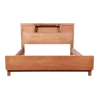 Merton Gershun for American of Martinsville Bleached Mahogany and Cane Full Size Bed, 1960s For Sale