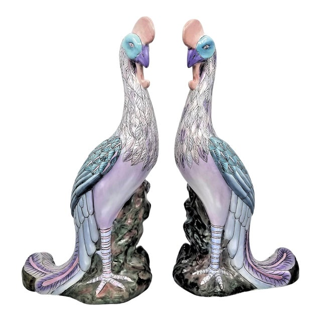 Extra-Large Chinese Porcelain Ceramic Phoenix Bird Sculptures or Figurines - a Pair For Sale