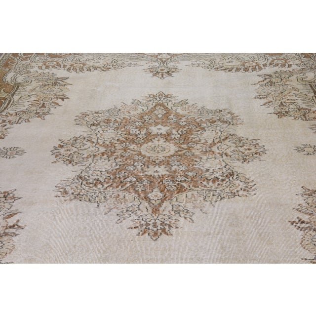 """Shabby Chic Vintage Turkish Hand Knotted Whitewash Organic Wool Fine Weave Rug,7'2""""x10'2"""" For Sale - Image 3 of 6"""