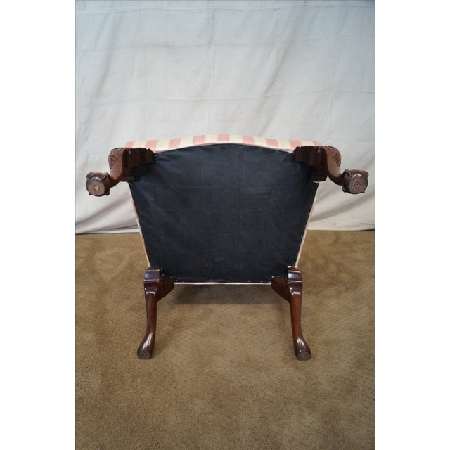 Pink Chippendale Ball & Claw Foot Arm Chair For Sale - Image 8 of 10