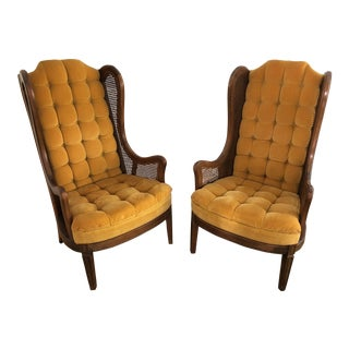 1970s Vintage Rattan Wing Chairs- a Pair For Sale