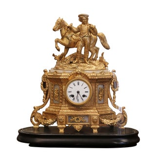 19th Century French Ormulu and White Marble Mantel Clock With Wood Base and Dome For Sale