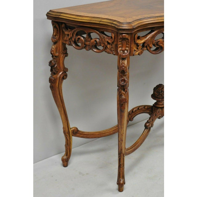 20th Century French Louis XV Carved Walnut Banded Console Table For Sale - Image 4 of 11
