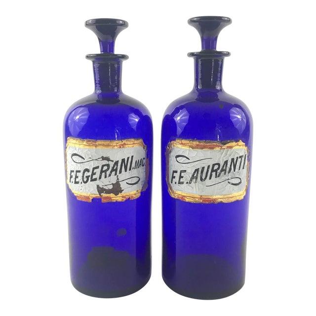 Antique 1800s English Cobalt Blue Apothecary Bottles - a Pair For Sale