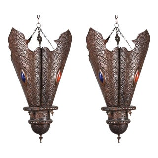 Pair of Moroccan Handcrafted Metal Pendants, North Africa For Sale