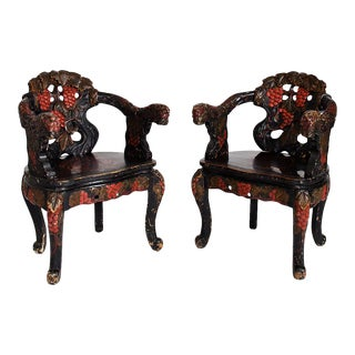 Carved Ebonized Chinese Chairs - a Pair For Sale