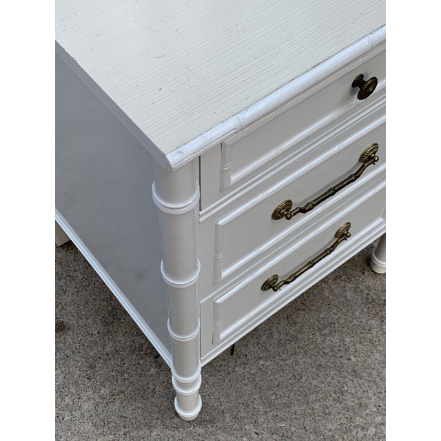 Vintage Thomasville Allegro faux bamboo desk. The top was left in its original state and is a cream white laminate...