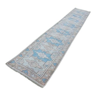 1970s Vintage Turkish Oushak Rug Runner - 2′7″ × 14′9″ For Sale