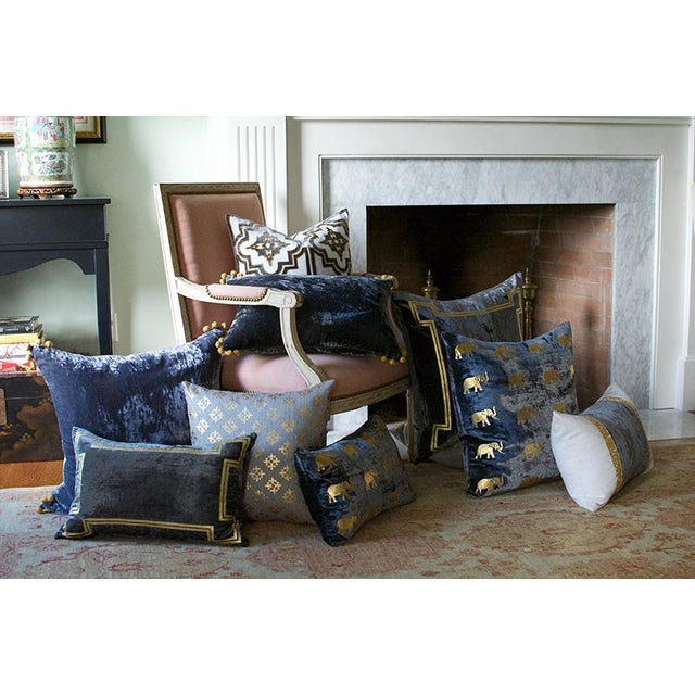 Aria Pewter Velvet Lumbar Pillow With Gold Foil Accents For Sale - Image 4 of 4