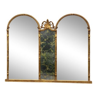 Vintage French Rococo Gold Giltwood Victorian Triple Arch Mirror For Sale