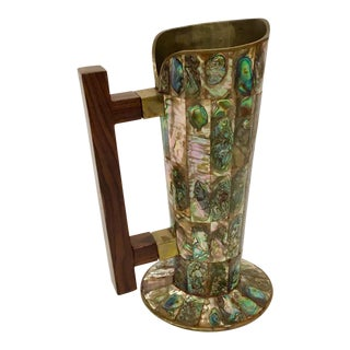 Vinatge Mid-century Salvador Teran Brass and Abalone Pitcher For Sale
