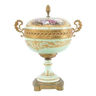 19th Century Gilt Bronze Mounted / Sevres Porcelain Covered Urn For Sale