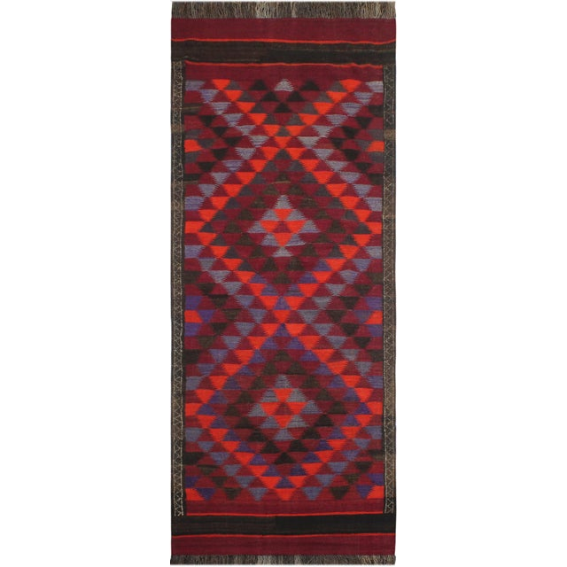 "Antique Turkish Vintage Kilim Jamey Red Orange Hand-Woven Area Rug 3'11"" X 10'4"" For Sale - Image 10 of 10"