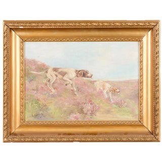 Hunting Hounds Oil Painting by L. Chantrelle For Sale