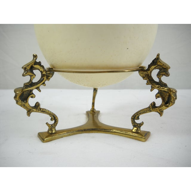 Ostrich Egg on Brass Griffin Stand - Image 7 of 8