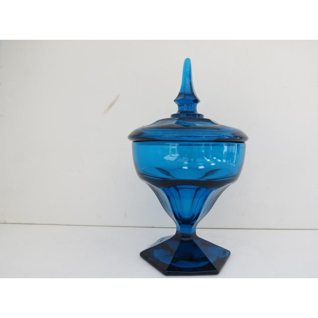 Mid-Century Peacock Blue Candy Jar - Image 2 of 5
