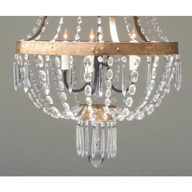 18th Century Italian Empire Iron, Crystal and Tole Basket Chandelier For Sale - Image 4 of 7