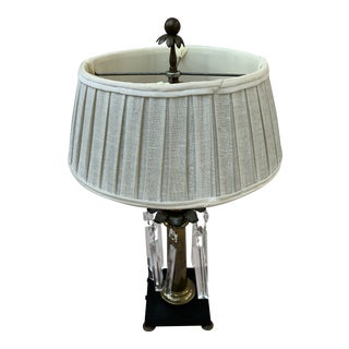 Chapman Brass Table Lamp With Black Base and Crystals With Shade For Sale