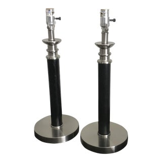 Black Wood & Stainless Modern Lamps - A Pair