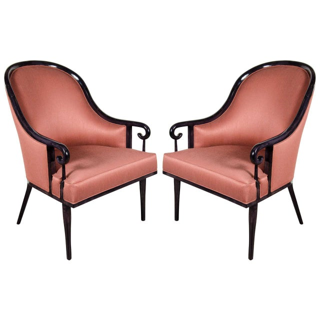 Textile Ultra Chic Pair of Mid-Century Scroll Arm Chairs with Spoon Back design For Sale - Image 7 of 7