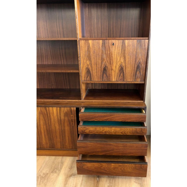 Danish Mid-Century Modern Rosewood 2 Piece Display/Credenza With Drop Leaf Bar For Sale - Image 9 of 13