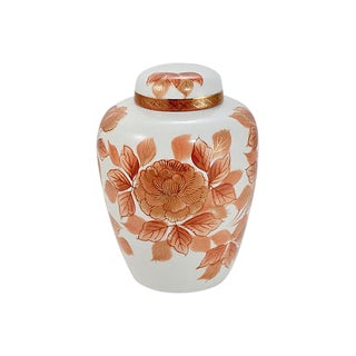 Asian Kutani Coral Red & Gold Jar For Sale
