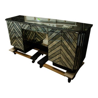 C. 1970s Italian Mirrored & Black Desk For Sale