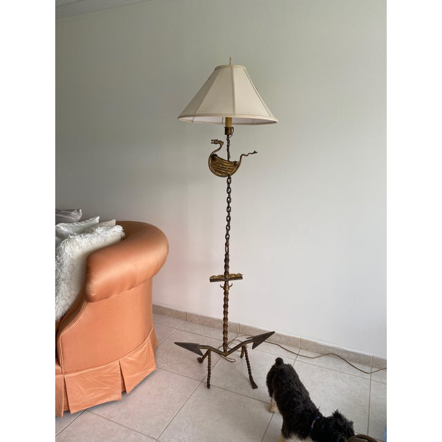 "Metal 1960s Studio Created ""Viking"" Floor Lamp For Sale - Image 7 of 7"