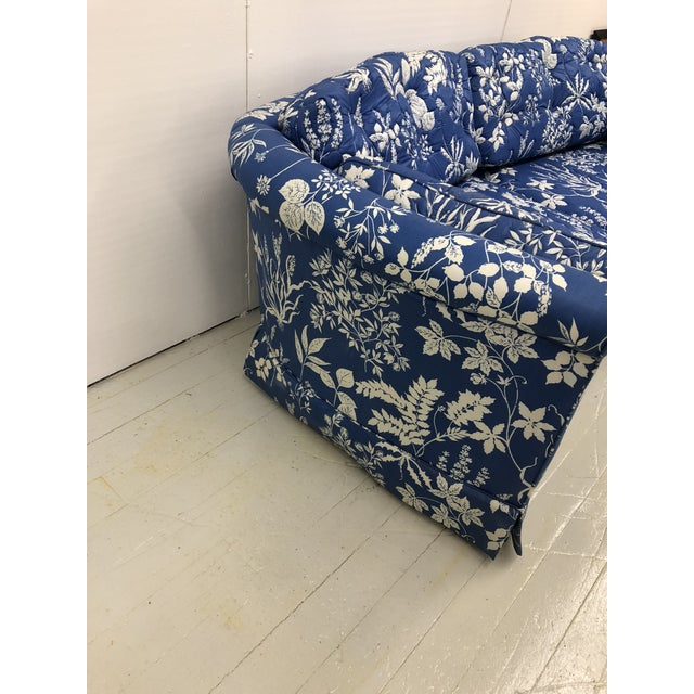 Gorgeous 1970s Ethan Allen Hollywood Regency inspired crescent shaped loveseat sofa in a stunning blue and white...