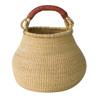 African Pot Basket in Natural With Leather Handle For Sale