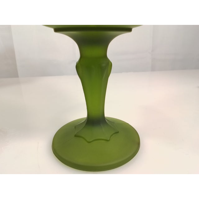 Vintage Indiana Glass Avocado Green Satin Goblet For Sale - Image 5 of 6