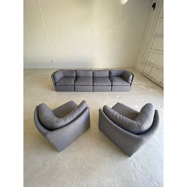 Milo Baughman Scalloped Back Modular Sectional Sofas - A Pair For Sale - Image 9 of 10