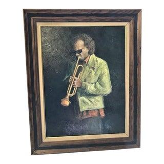 Mid 20th Century Oil on Canvas Portrait of Miles Davis For Sale