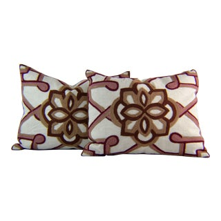 Kim Seybert Crewel Embroidered Throw Pillows - A Pair For Sale