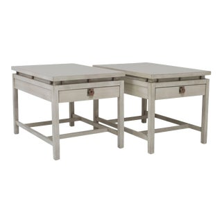Pair of Driftwood Finish End Tables For Sale