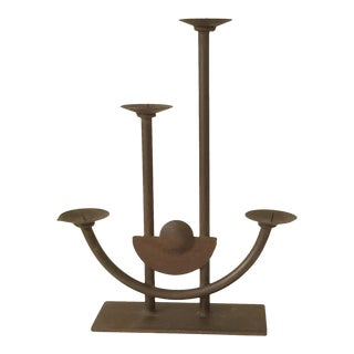 1970s Rustic Hand Forged Wrought Iron Candleholder For Sale