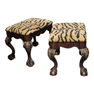 Georgian Style Tiger Print Upholstered Benches - a Pair For Sale