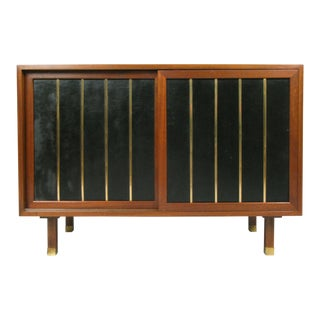 1950s Walnut & Leather Cabinet by Harvey Probber For Sale