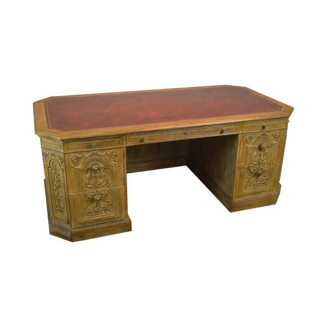 French Rococo Style Custom Quality Carved Executive Desk For Sale - Image 12 of 12