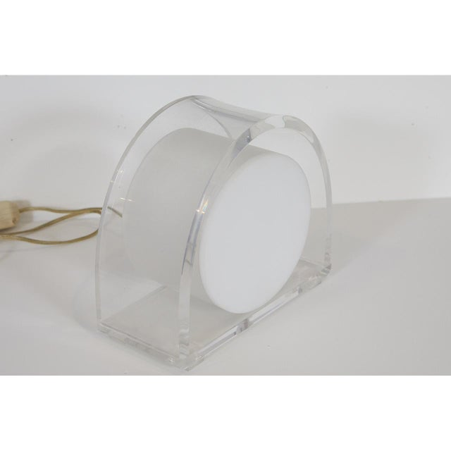 Mid-Century Modern 1970s Lucite Demilune Lamp by Ritts Company For Sale - Image 3 of 5