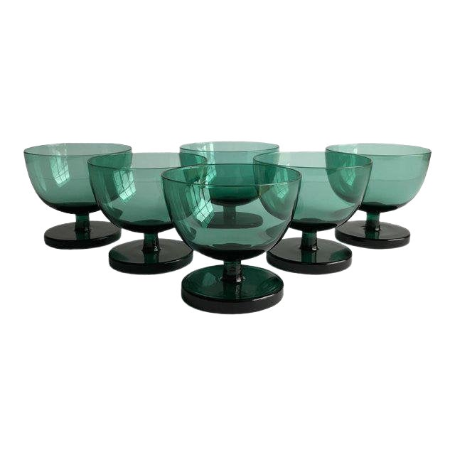 Emerald Green Coupes, Set of 6 For Sale