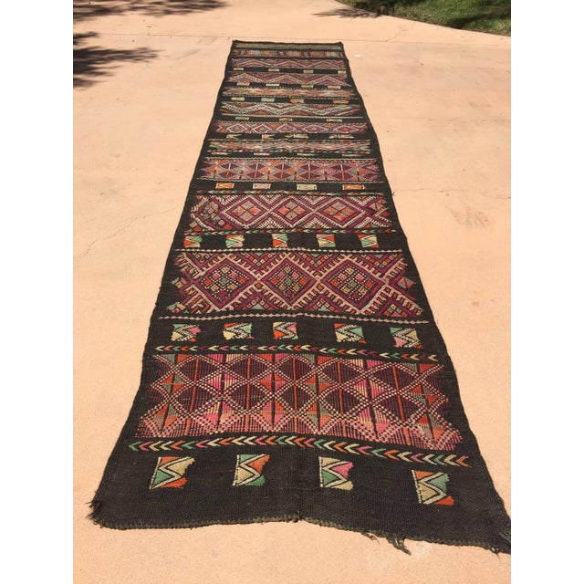 Moroccan Black Tuareg Tribal African Rug Runner For Sale In Los Angeles - Image 6 of 8