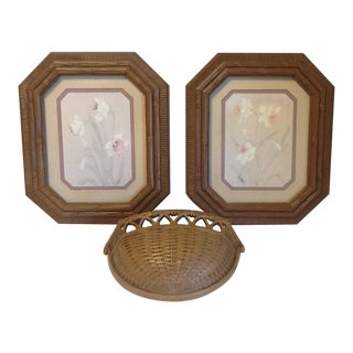 1970's Vintage Syroco Brown Wicker Framed Florals & Wall Pocket – Set of 3 For Sale