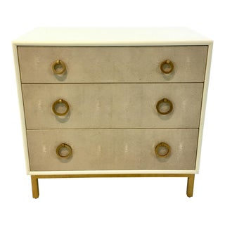 Modern Ivory and Gold Shagreen Chest of Drawers/Nightstand For Sale