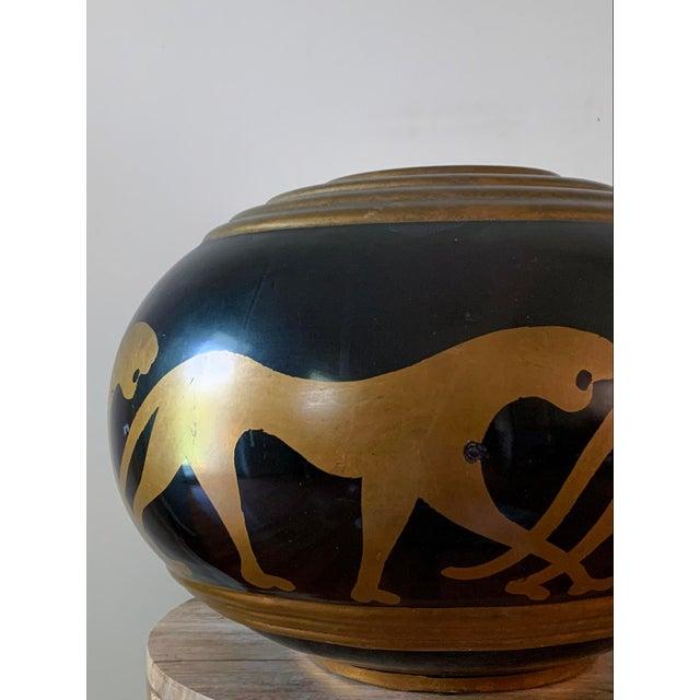 Black Vintage Panther Motif Pottery Vase For Sale - Image 8 of 9